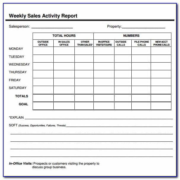 Weekly Sales Report Format In Word