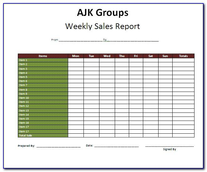 Weekly Sales Report Template Doc