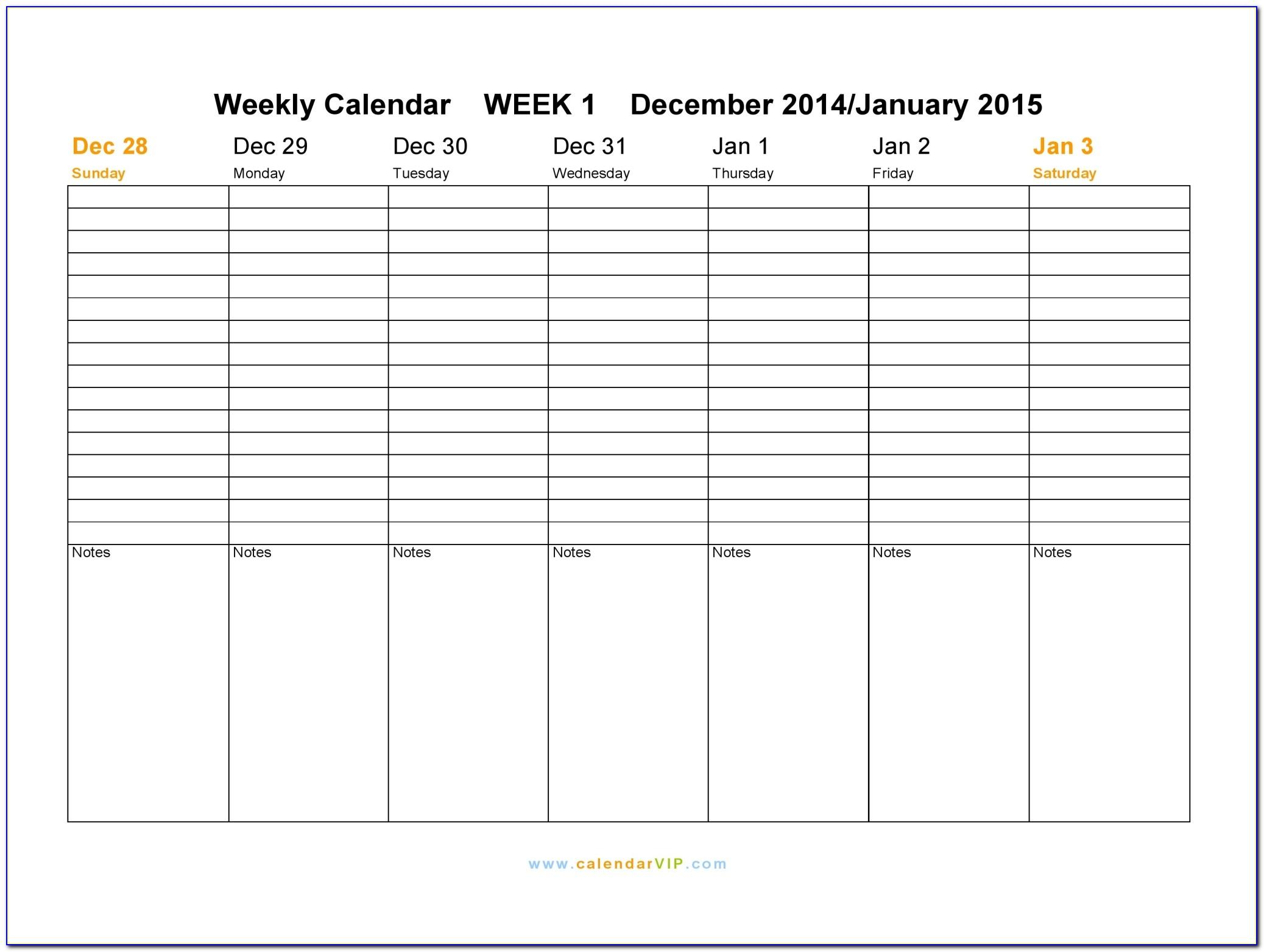 Weekly Schedule Excel Spreadsheet Template