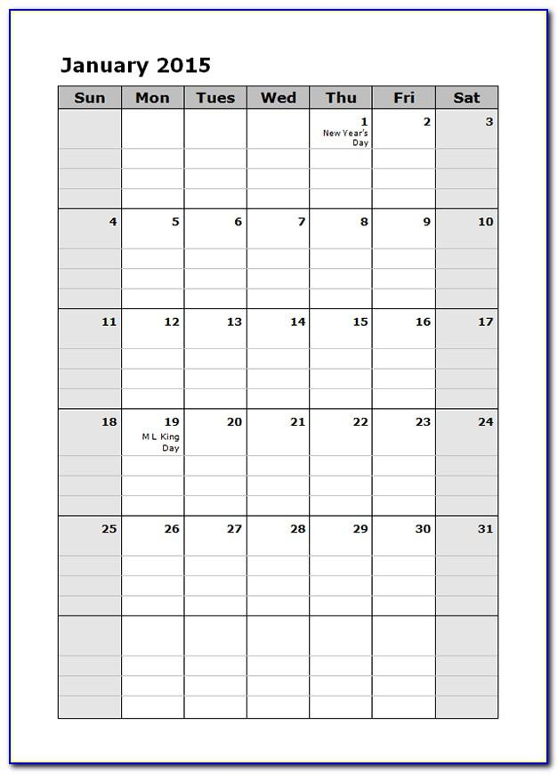 Weekly Schedule Template Free Printable
