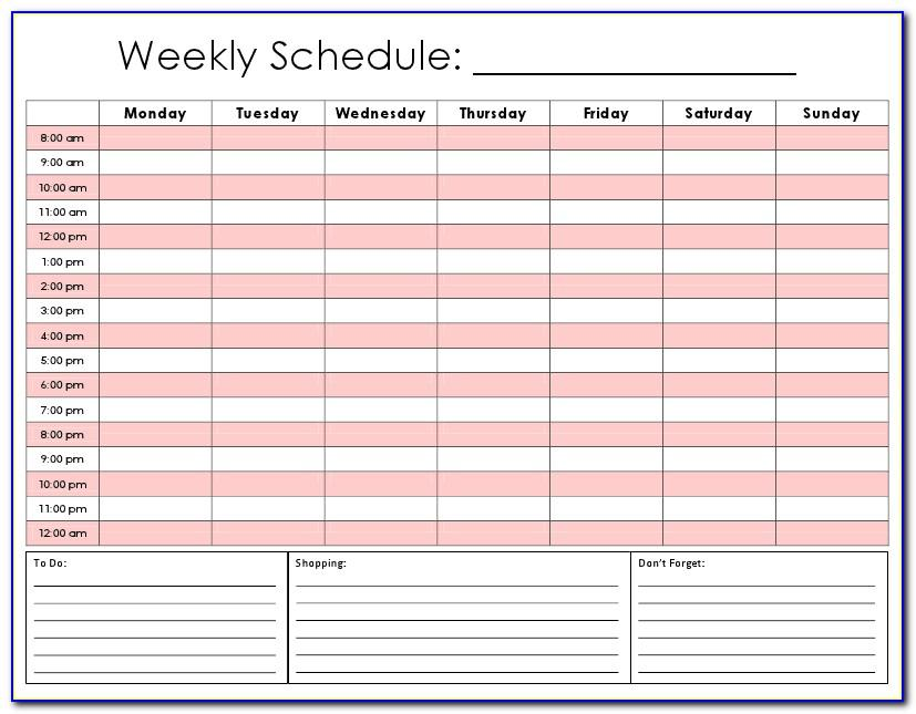 Weekly Schedule Template Hour