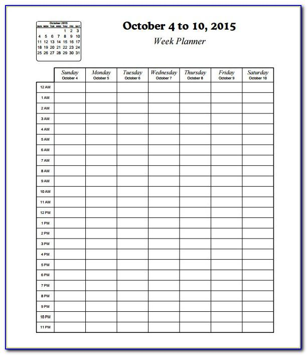 Weekly Schedule Template With Times