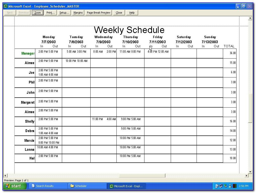 Weekly Staff Work Schedule Template
