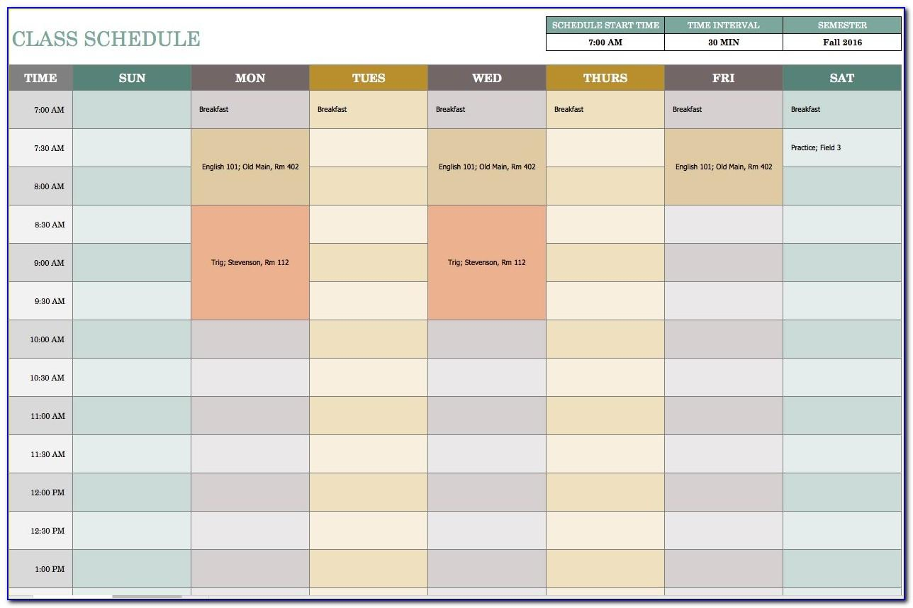 Weekly Time Schedule Template Excel
