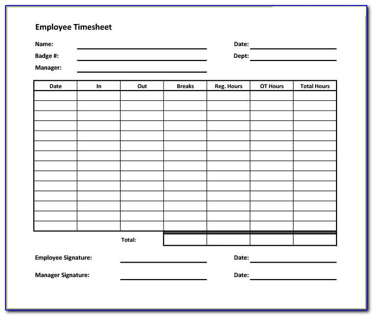 Weekly Timesheet Template With Overtime