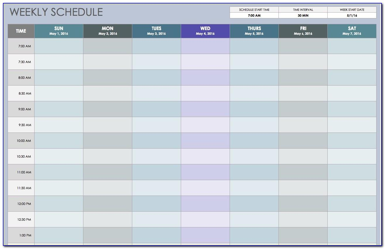 Weekly Work Schedule Calendar Template