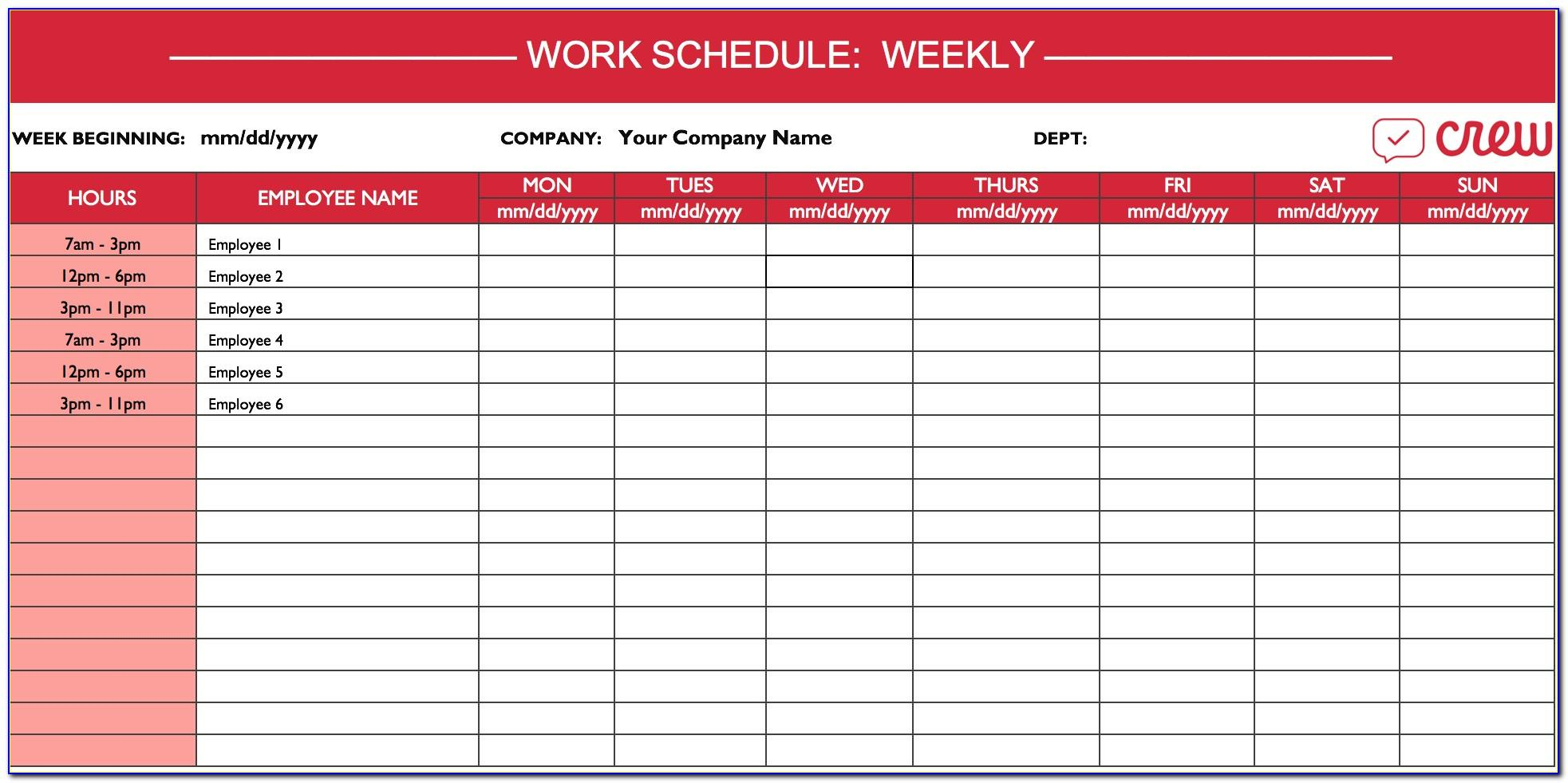 Weekly Work Schedule Template 2015