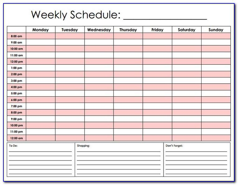 Weekly Work Schedule Template With Hours
