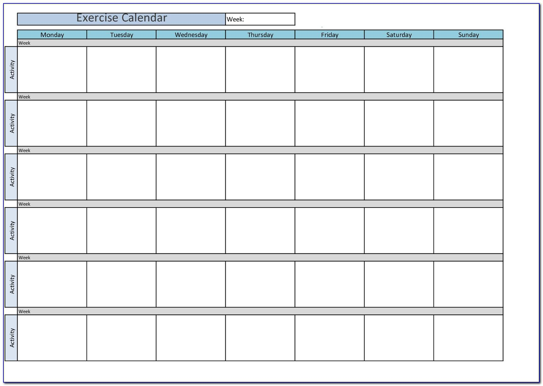 Weekly Workout Calendar Template