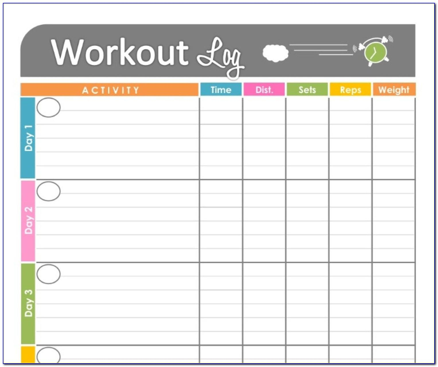 Weekly Workout Timetable Template