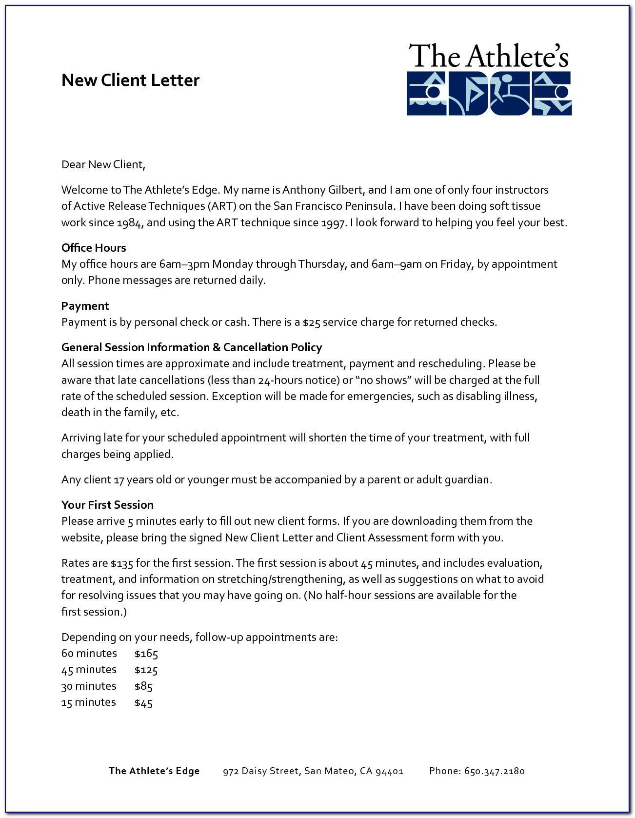 Welcome Letter Sample New Customer