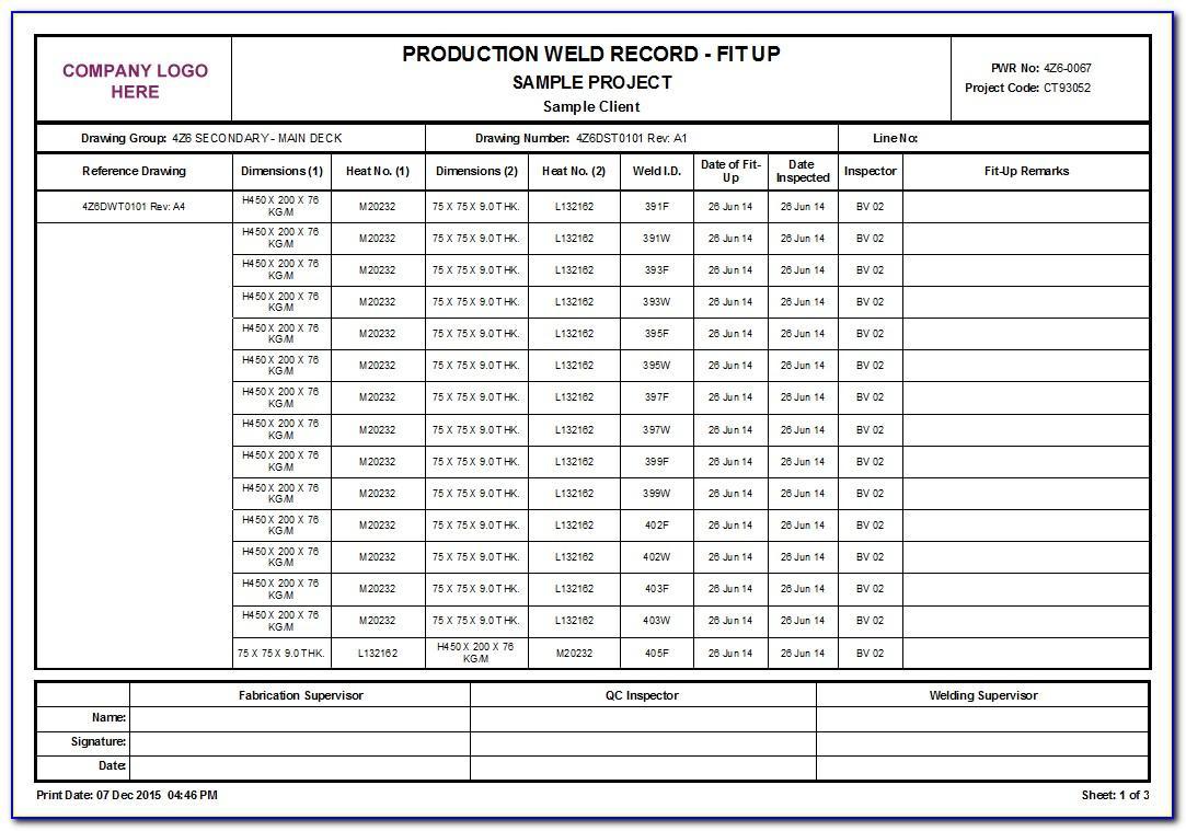 Welding Inspection Report Form
