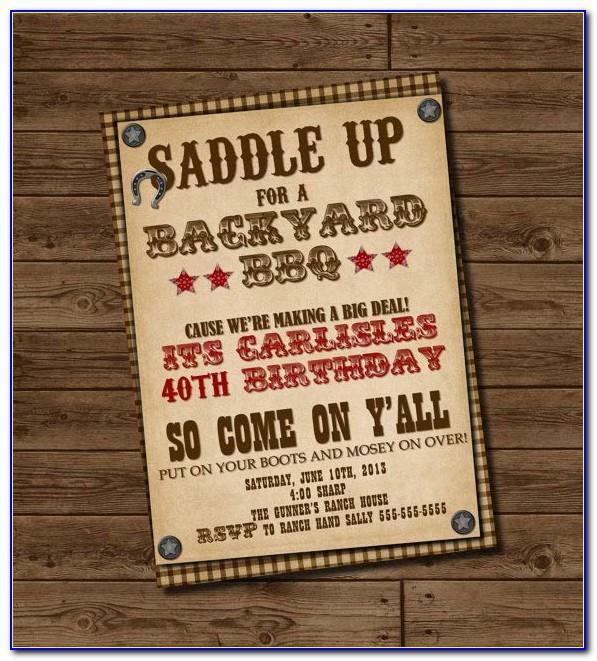 Western Birthday Invitation Templates