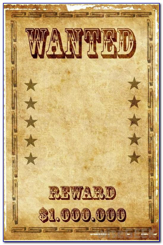 Western Reward Poster Template
