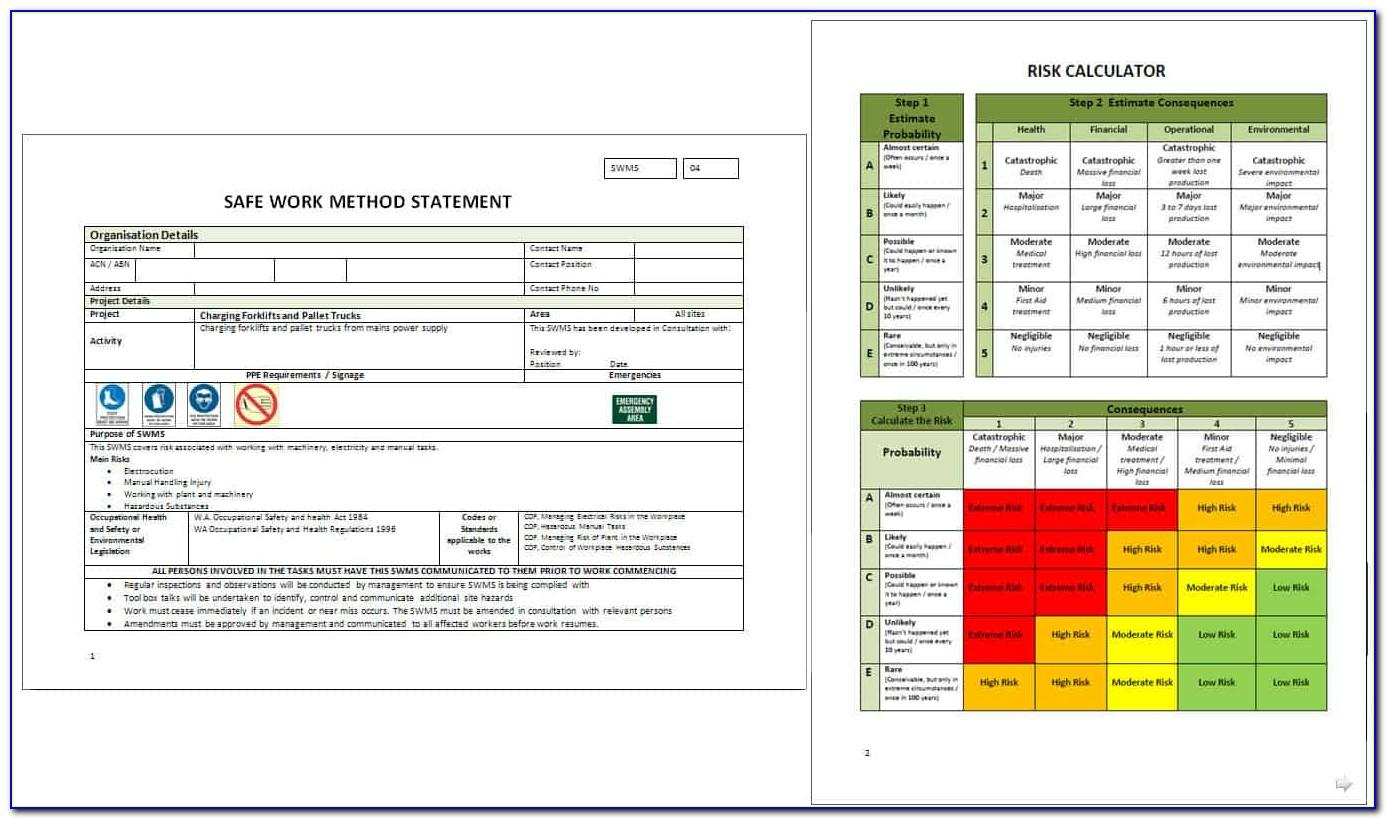 Whs Risk Assessment Sheet