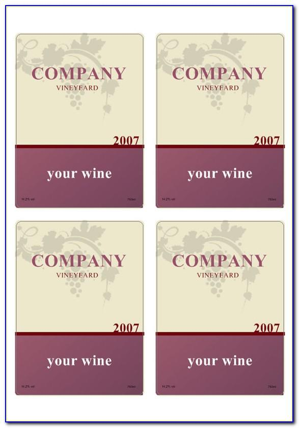 Wine Bottle Stickers Template
