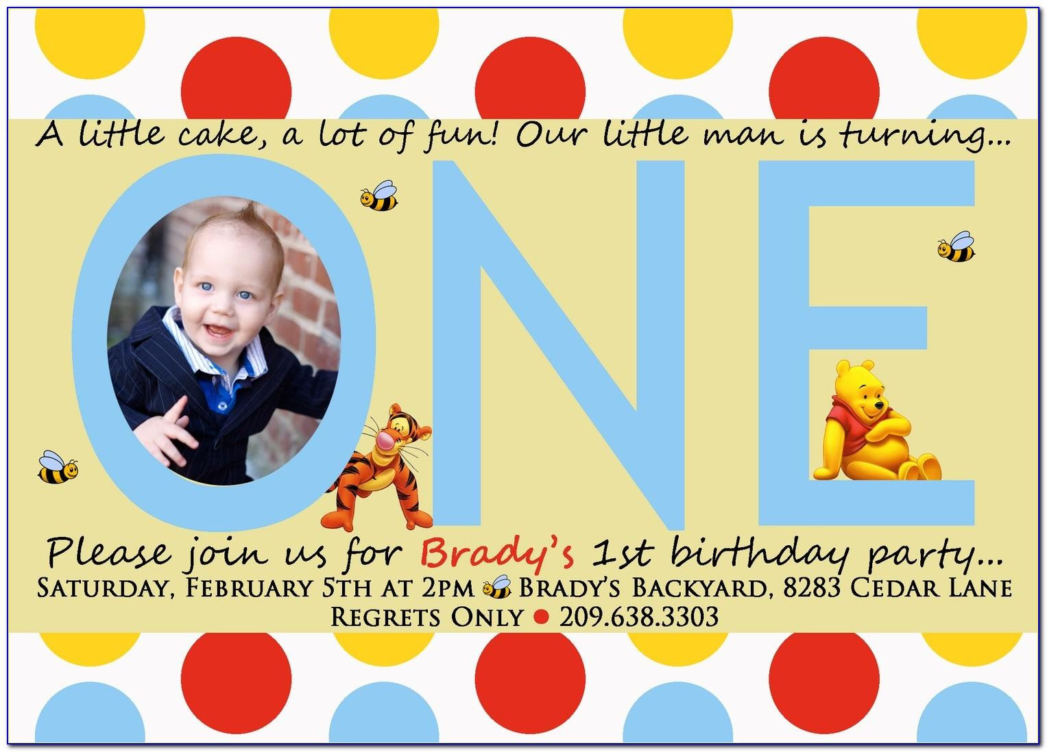 Winnie The Pooh 1 St Birthday Invitation Wording