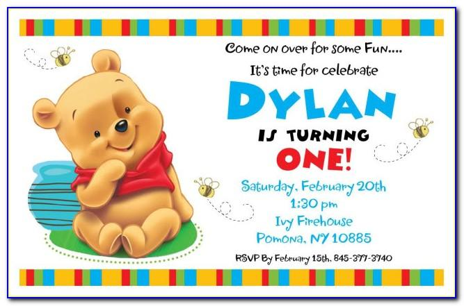 Winnie The Pooh Birthday Invitation Templates Free