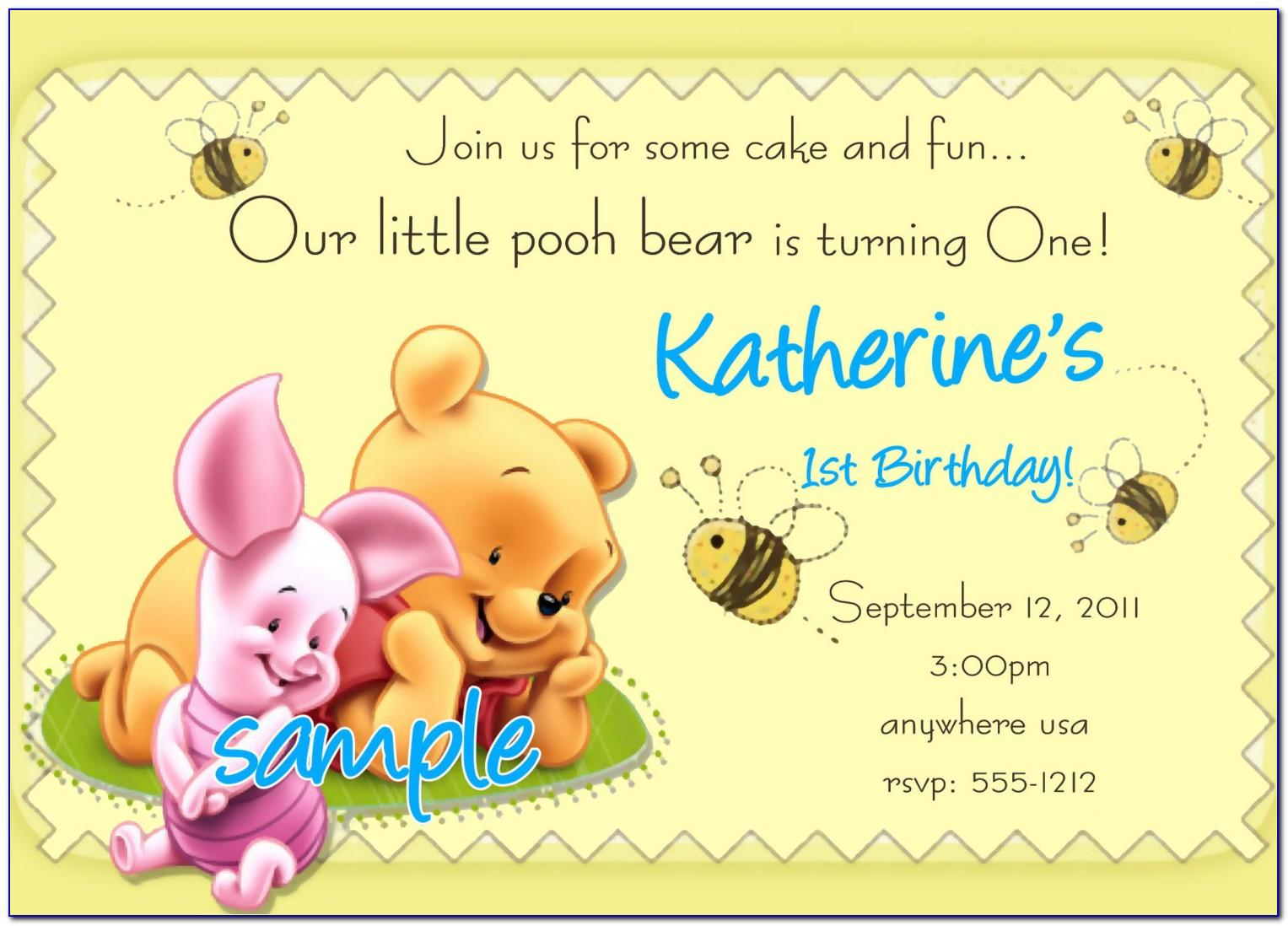 Winnie The Pooh Birthday Invitations Templates Free