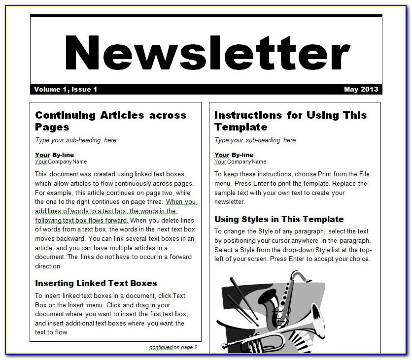 Word Newsletter Template 2007