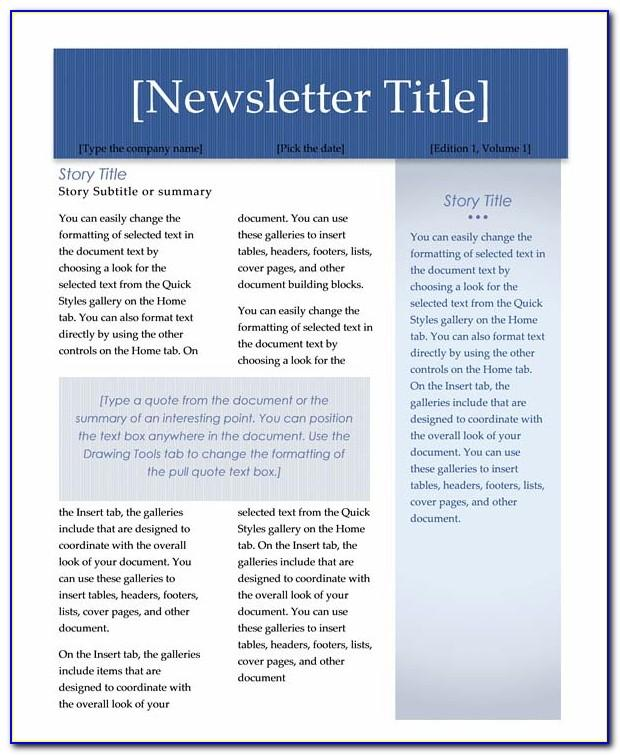 Word Newsletter Template Free Mac