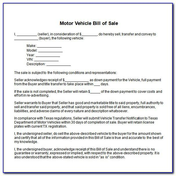 Word Template For Car Bill Of Sale