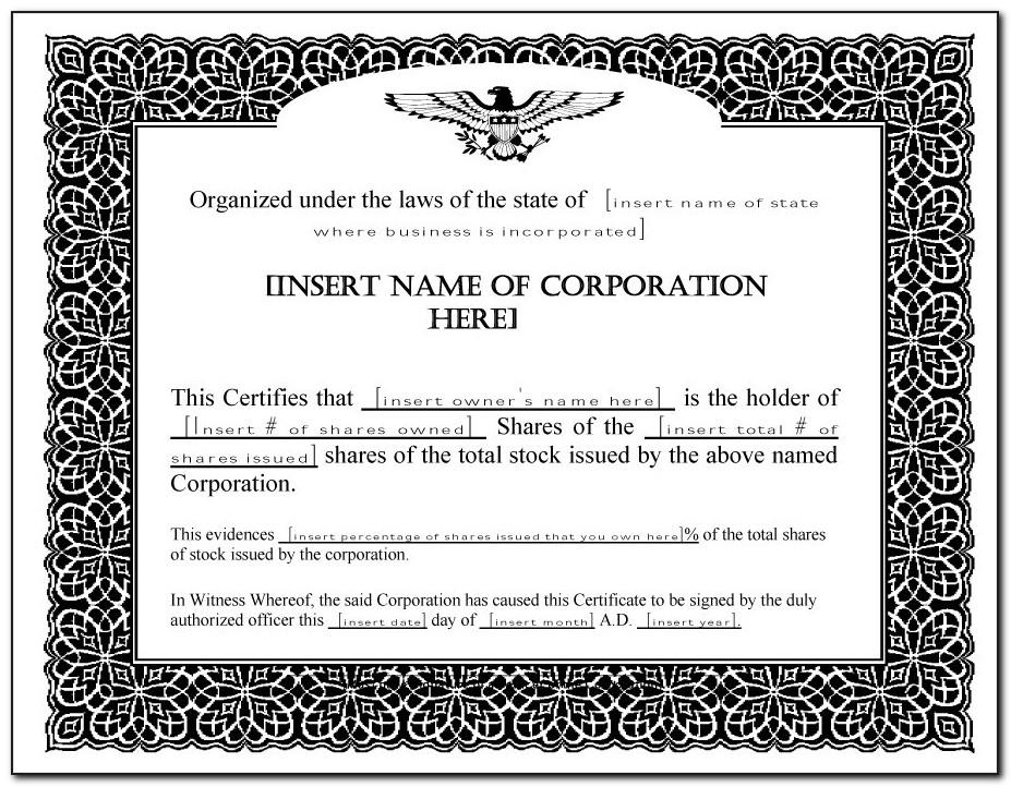 Word Template Stock Certificate
