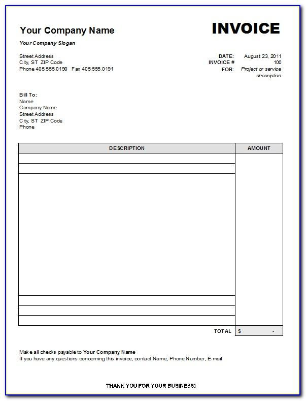 Word Templates For Invoices