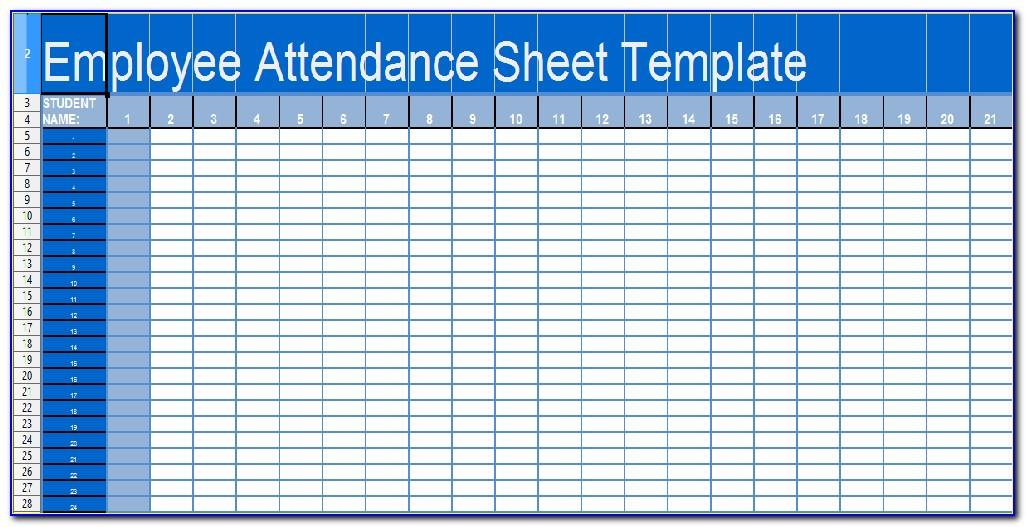 Work Attendance Sheet Template