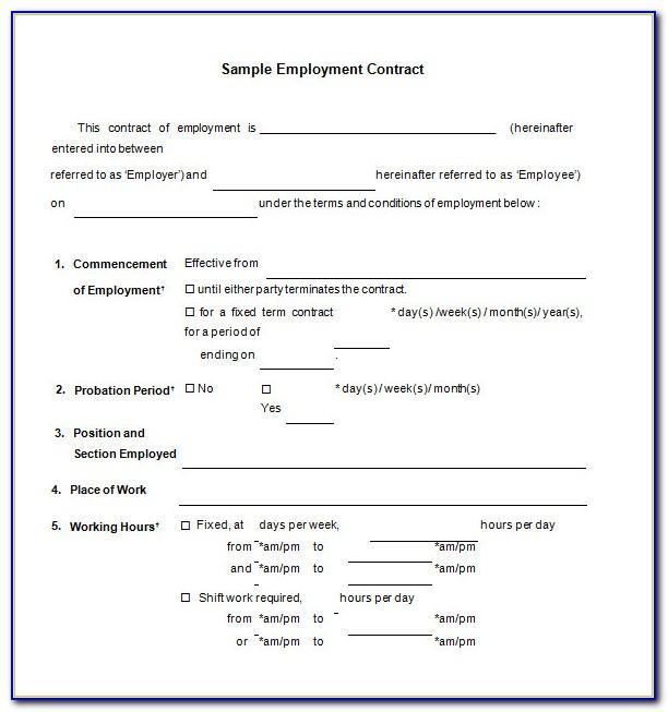 Work Contract Template Microsoft Word