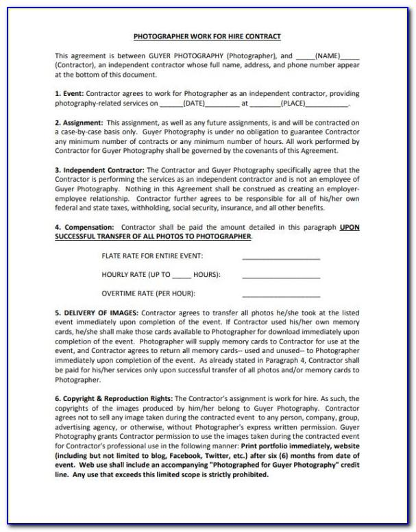 Work For Hire Photographer Contract Template