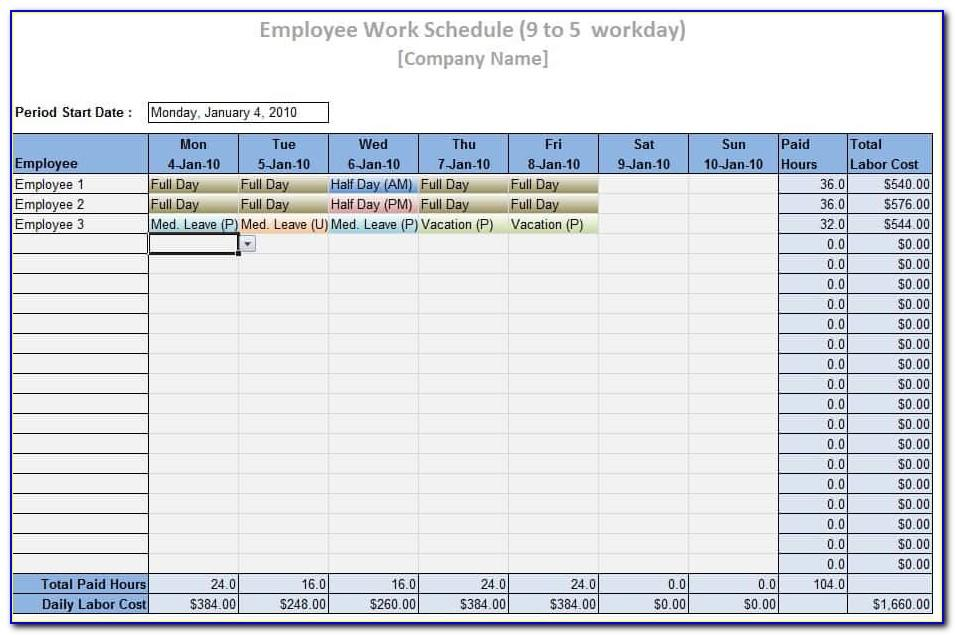 Work Holiday Planner Excel Template