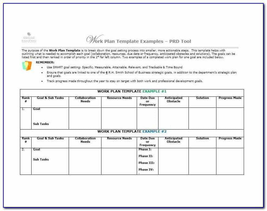 Work Plan Template Word Free