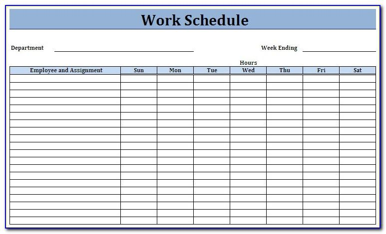 Work Schedule Calendar Template 2018