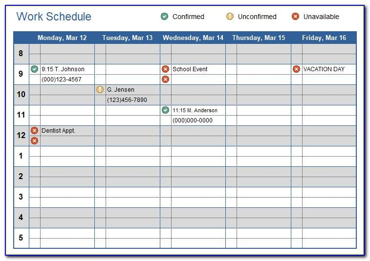 Work Schedule Calendar Template Excel