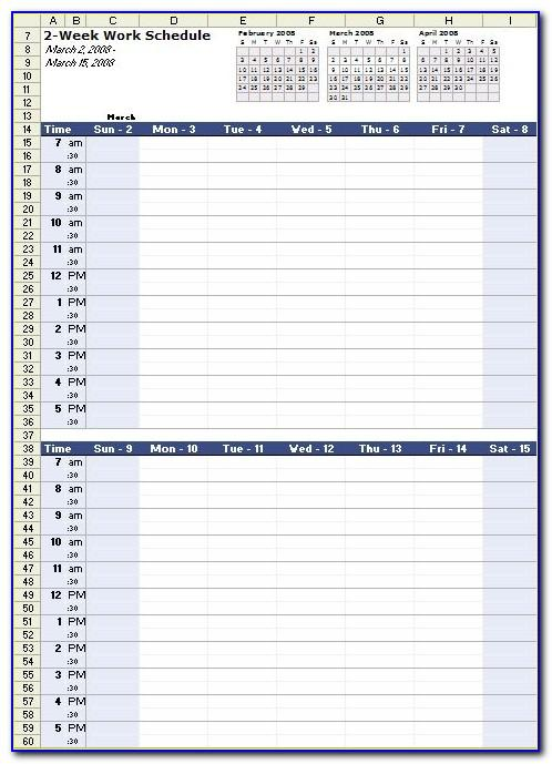 Work Schedule Excel Template