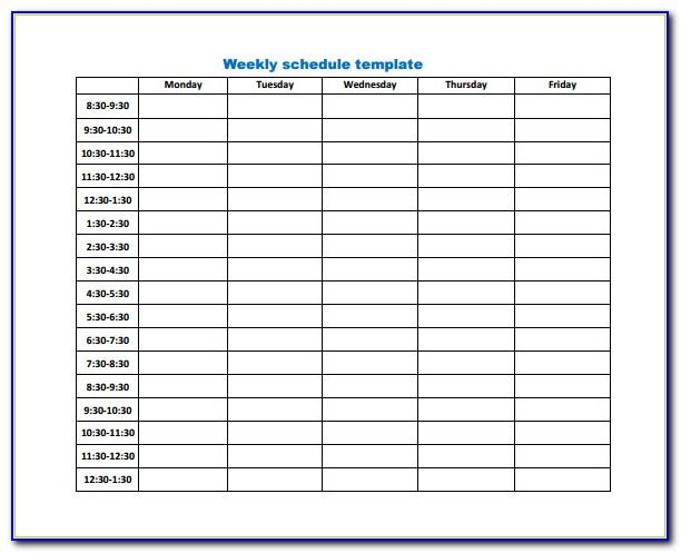 Work Schedule Template Free Download