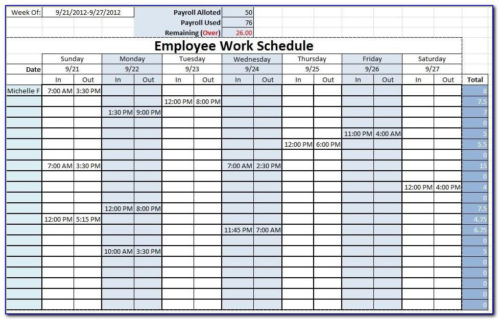Work Schedule Templates Excel