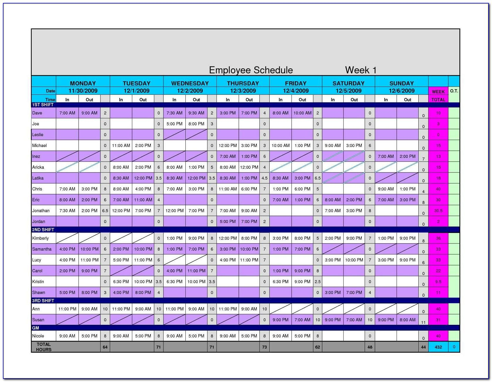 Work Schedule Templates Free Excel