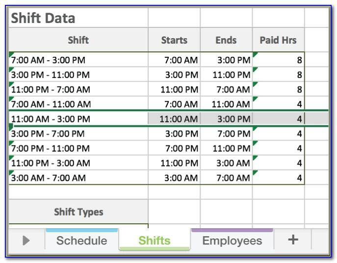 Work Schedule Timeline Template