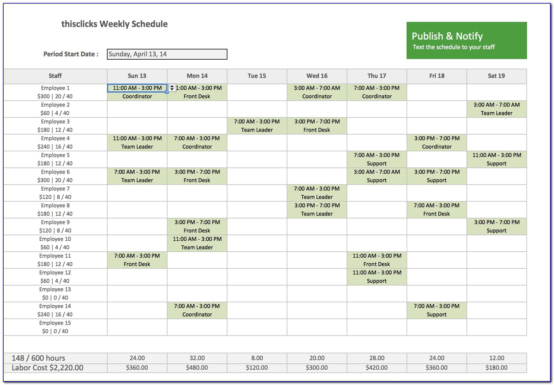 Work Scheduling Template Excel Free