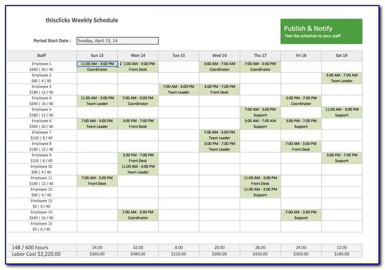 Work Time Schedule Template Excel