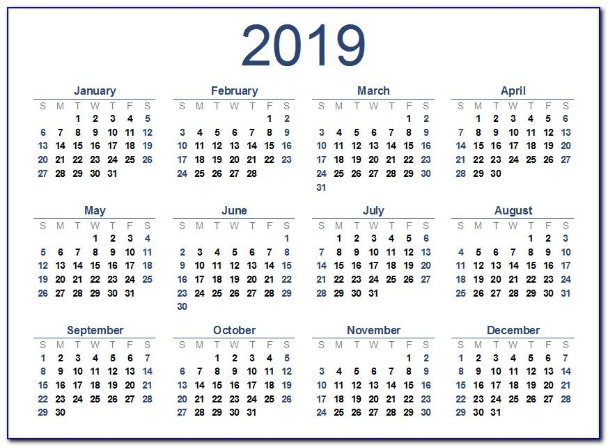 Work Week Calendar Template November 2018