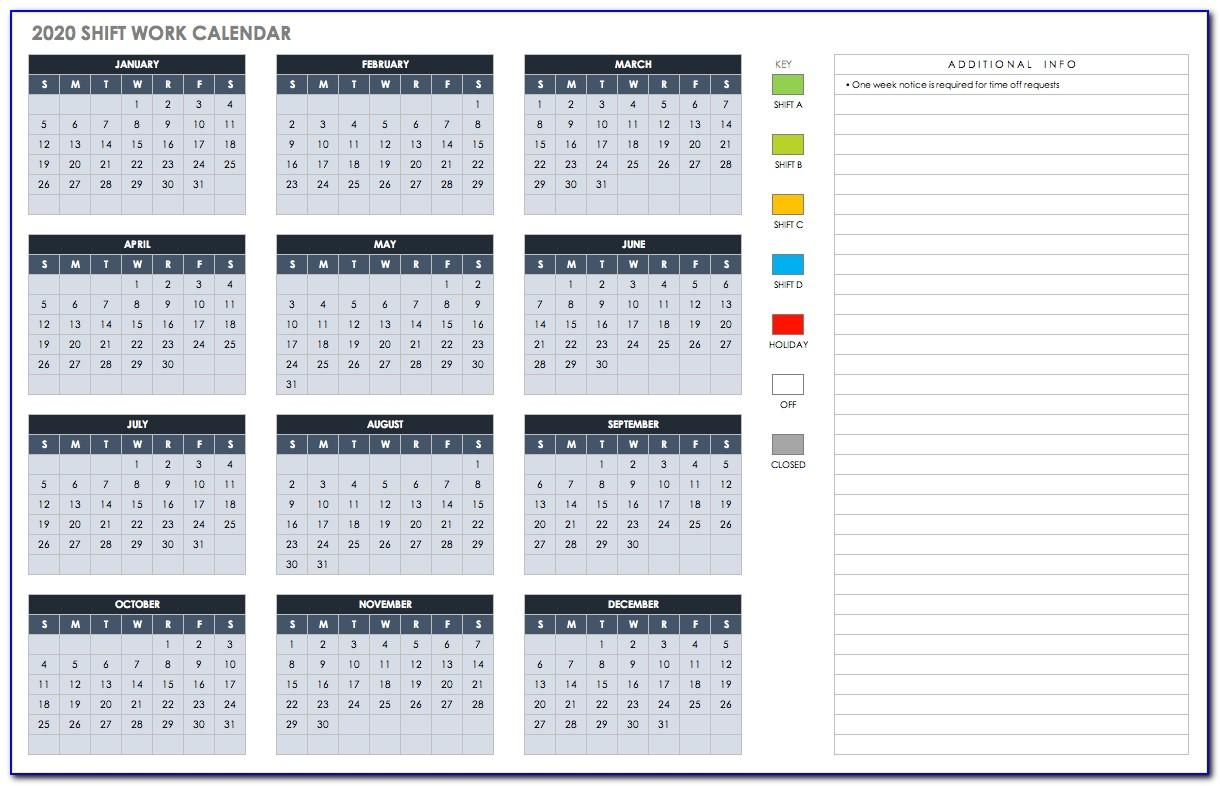 Work Week Calendar Template Word