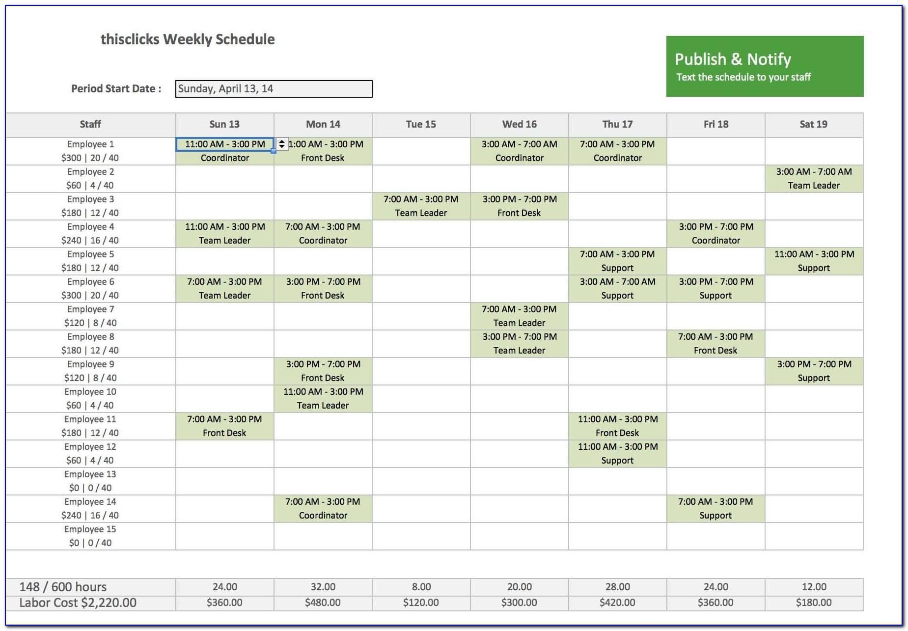 Workback Schedule Template Excel Free