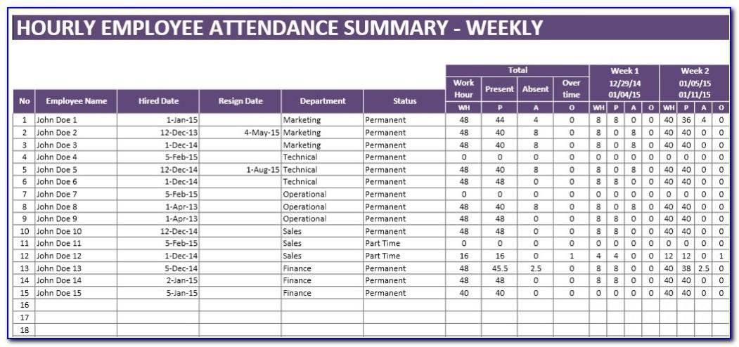 Worker Attendance Sheet Template
