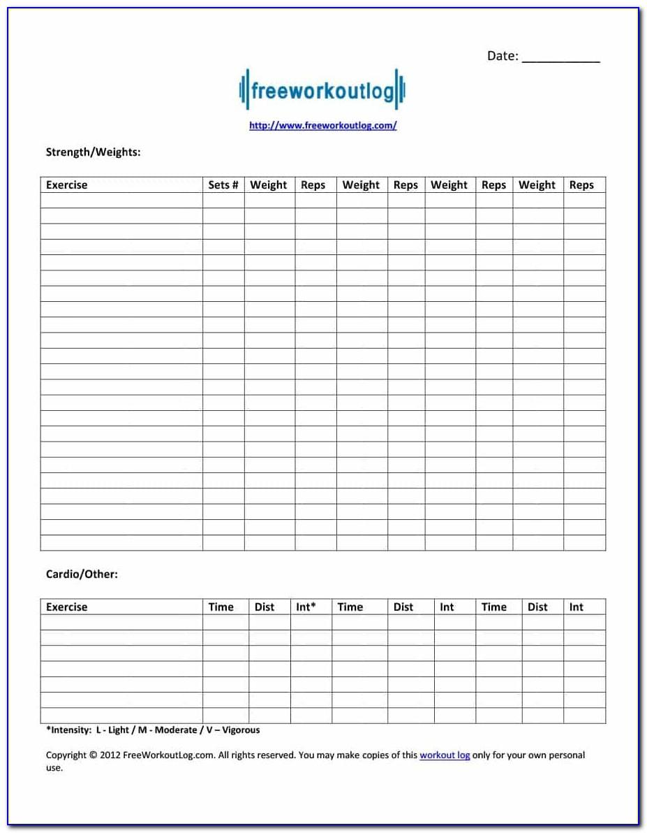 Workout Log Book Pdf