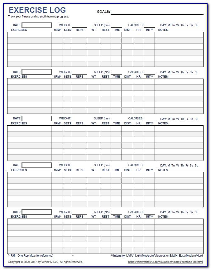 Workout Log Template For Numbers