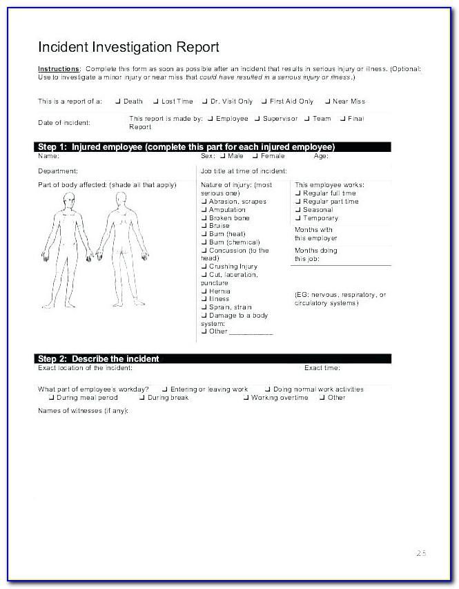 Workplace Accident Report Example
