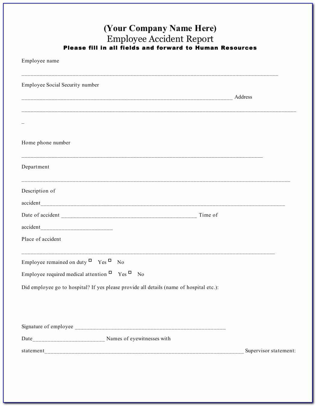 Workplace Accident Report Form Pdf